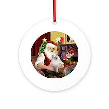 Santa's blue Ragdoll cat Ornament (Round)