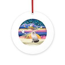 Xmas Star & Ragdoll cat Ornament (Round)