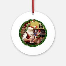 Wreath - Santa's Sphynx cat Ornament (Round)