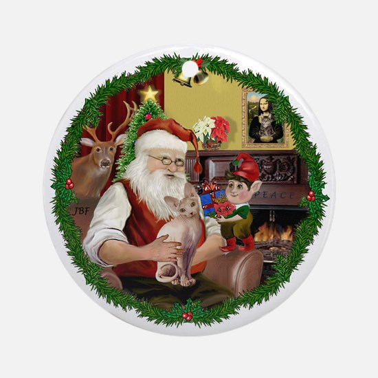 Wreath - Santa's Sphynx cat Ornament (Round)