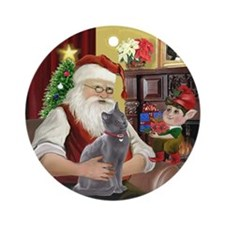 Santa's Russian Blue Cat Ornament (Round)