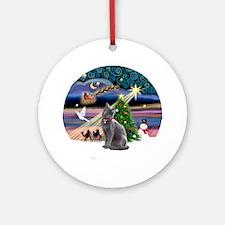 Xmas Magic & Russian Blue Cat Ornament (Round)