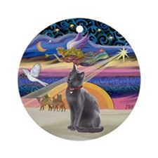 Xmas Star & Russian Blue Cat Ornament (Round)