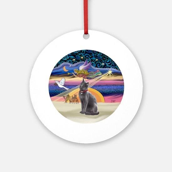 Xmas Star & Russian Blue Cat Ornament (Round)