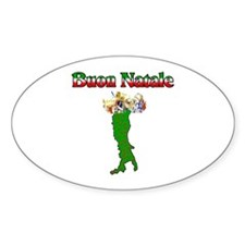 Buon Natale Italian Christmas Boot Oval Decal