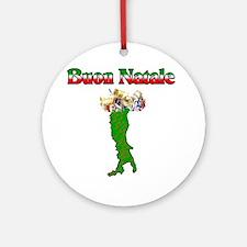 Buon Natale Italian Christmas Boot Ornament (Round