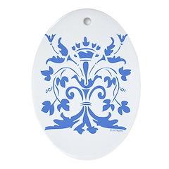 Fleur de lis Queen (blue) Oval Ornament