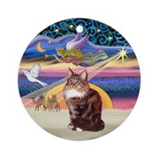 Xmas Star & Maine Coon (#9) Ornament (Round)