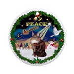 Peace Wreath & Maine Coon (9) Ornament (Round)