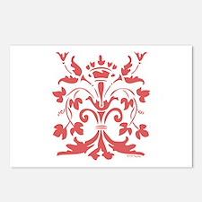 Fleur de lis Queen (red) Postcards (Package of 8)