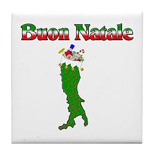 Buon Natale Italian Christmas Boot Tile Coaster