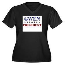 GWEN for president Women's Plus Size V-Neck Dark T