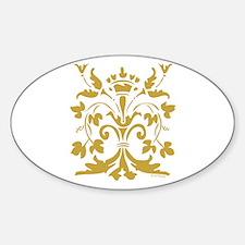 Fleur de lis Queen (gold) Oval Decal