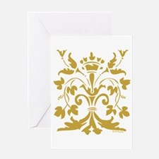 Fleur de lis Queen (gold) Greeting Card