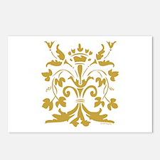 Fleur de lis Queen (gold) Postcards (Package of 8)