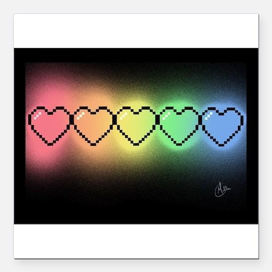 "Rainbow Pixel Heart Square Car Magnet 3"" x 3"""