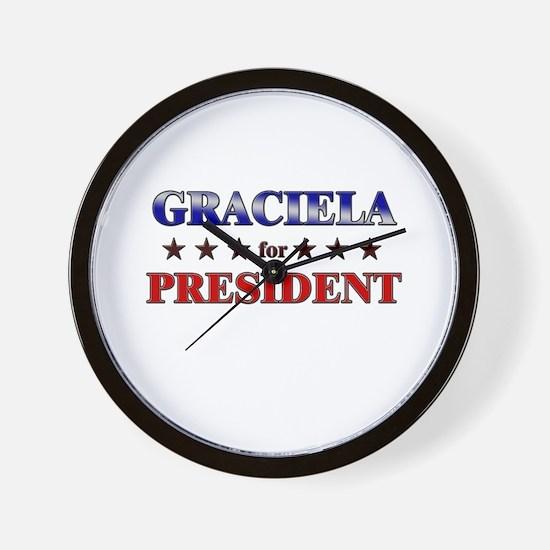 GRACIELA for president Wall Clock