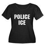 POLICE ICE Women's Plus Size Scoop Neck Dark T-Shi
