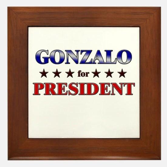 GONZALO for president Framed Tile