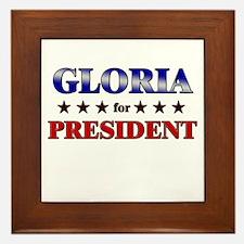 GLORIA for president Framed Tile