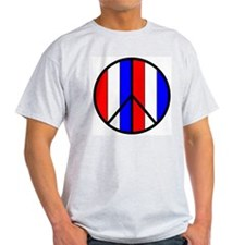 Red White Blue Peace Sign Ash Grey T-Shirt