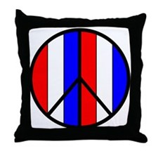 Red White Blue Peace Sign Throw Pillow
