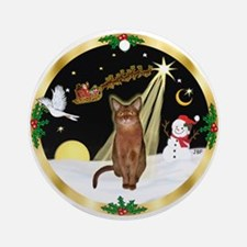 Night Flight & Abyssinian (R) Ornament (Round)