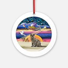 Xmas Star & Burmese cat Ornament (Round)