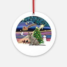 Xmas Magic & Burmese cat Ornament (Round)