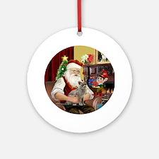 Santa's Burmese cat Ornament (Round)
