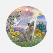 Cloud Angel & Burmese cat Ornament (Round)