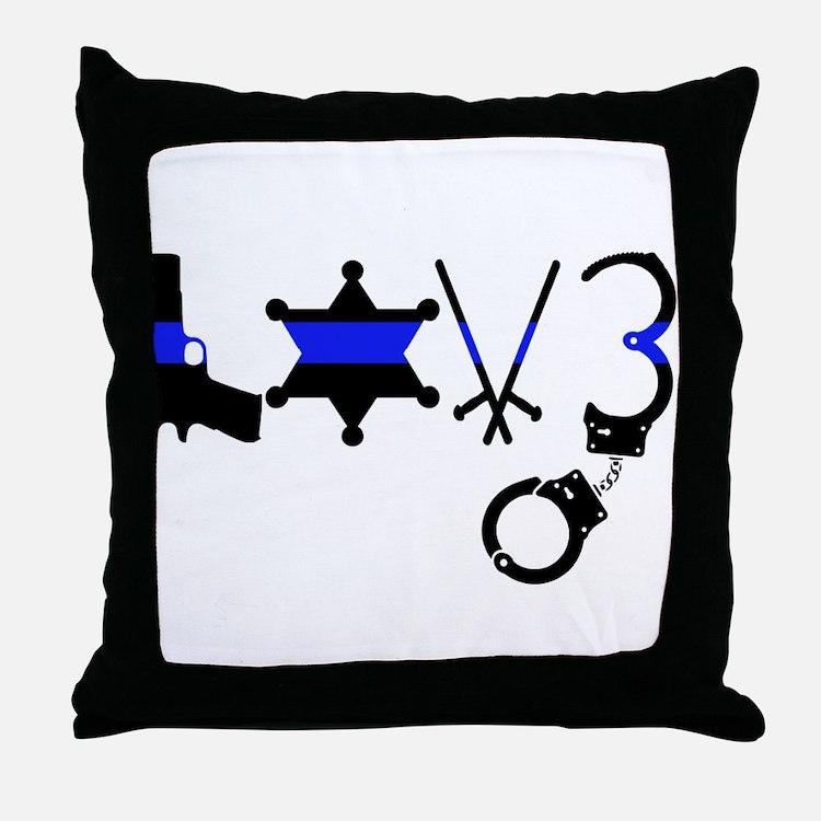 Cute Police family Throw Pillow
