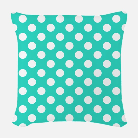 Turquoise Teal Blue Polka Dots Woven Throw Pillow