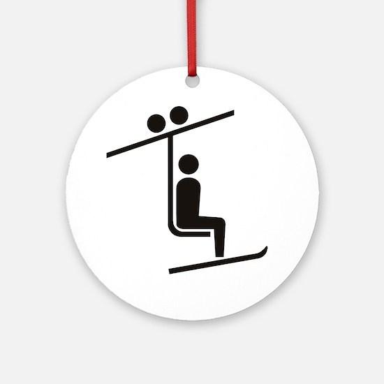 Ski Lift Ornament (Round)