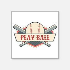 "Play Ball Baseball Square Sticker 3"" x 3"""