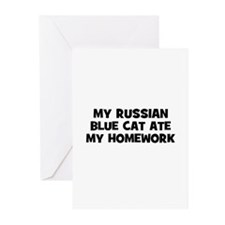 My Russian Blue Cat Ate My Ho Greeting Cards (Pk o