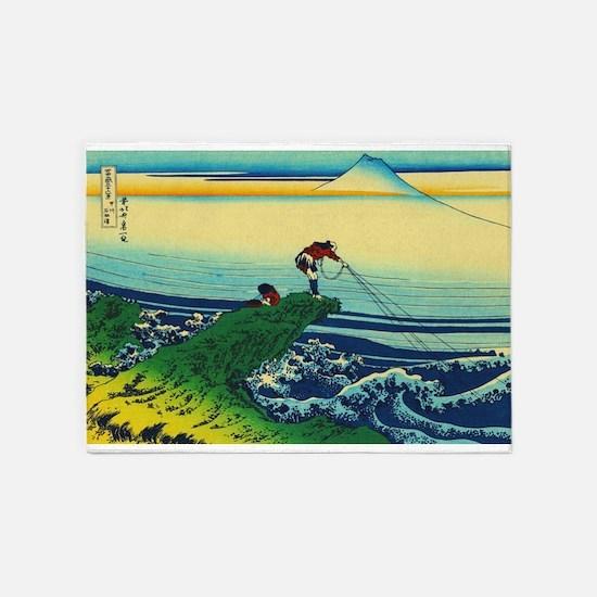 Vintage Japanese Art - Man Fishing 5'x7'Area Rug