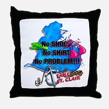 No Shoes, No Shirt, No Problem Throw Pillow