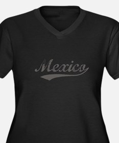 Flanger Mexico Women's Plus Size V-Neck Dark T-Shi