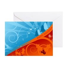 Orange & Blue Happy Holidays Greeting Card