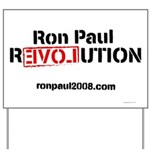 White Ron Paul Revolution Yard Sign