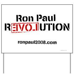White Ron Paul Revolution Yard Sign