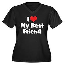 I Love My Best Friend Women's Plus Size V-Neck Dar