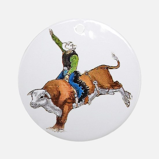 Bull Rider Ornament (Round)