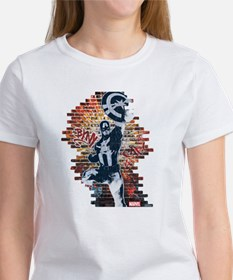 Captain America Graffiti Wall Women's T-Shirt