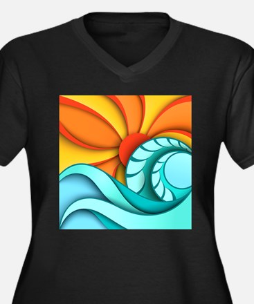 Sun and Sea Women's Plus Size V-Neck Dark T-Shirt