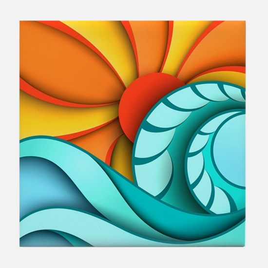 Sun and Sea Tile Coaster
