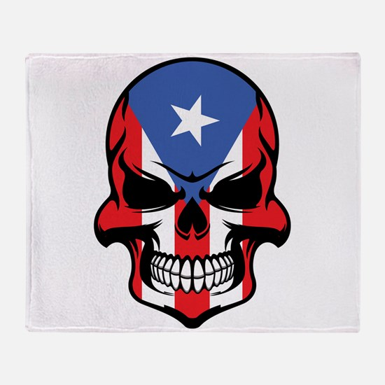 Puerto Rican Flag Skull Throw Blanket