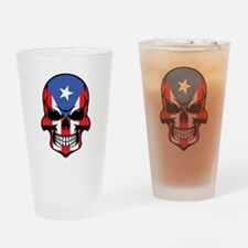 Puerto Rican Flag Skull Drinking Glass