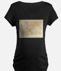 Vintage Map of Washington State Maternity T-Shirt